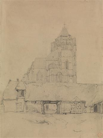 EUGÈNE ISABEY (Paris 1803-1886 Montévrain) A Study of a Church and Surrounding Structures.