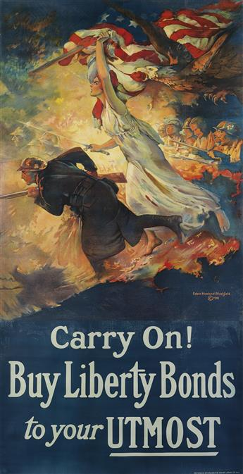 EDWIN HOWLAND BLASHFIELD (1848-1936). CARRY ON! / BUY LIBERTY BONDS TO YOUR UTMOST. 1918. 77x39 inches, 195x99 cm. Heywood Strasser and