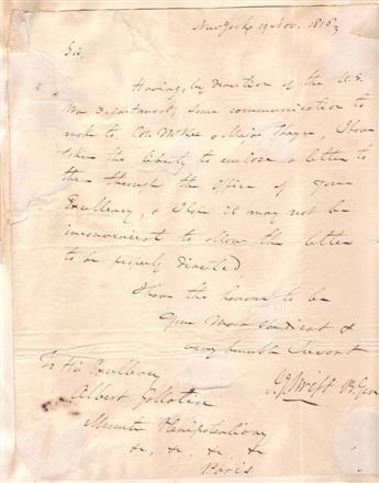 SWIFT, JOSEPH GARDNER. Autograph Letter Signed, J.G. Swift B. Gen, to U.S. Minister to France Albert Gallatin,