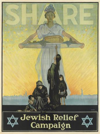 ALFRED F. BURKE (1893-1936). SHARE / JEWISH RELIEF CAMPAIGN. Circa 1915. 40x29 inches, 102x74 cm. Sackett & Wilhelms Corporation, Brook