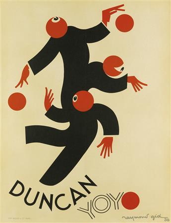 RAYMOND GID (1905-2000). DUNCAN YOYO. 1930. 31x23 inches, 78x60 cm. Bedos & Cie., Paris.