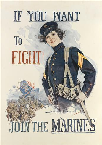 HOWARD CHANDLER CHRISTY (1873-1952). IF YOU WANT TO FIGHT! / JOIN THE MARINES. 1915. 39x28 inches, 101x71 cm.