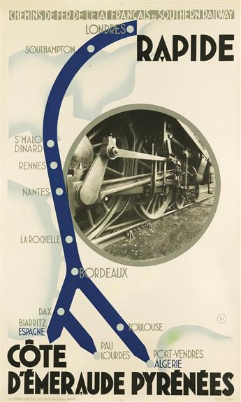N (ARTIST UNKNOWN). RAPIDE / CÔTE DÉMERAUDE PYRÉNÉES. 1932. 39x24 inches, 99x61 cm. Périn-Dufour, Paris.