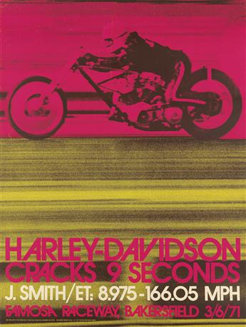 PHOTO BY DAVE GOOLEY (DATES UNKNOWN). HARLEY DAVIDSON CRACKS 9 SECONDS. 1971. 48x35 inches, 122x90 cm.