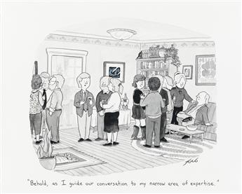 (THE NEW YORKER / CARTOON) TOM TORO. Behold, as I guide our conversation to my narrow area of expertise.