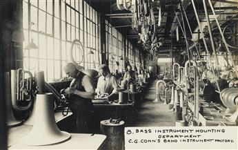 (C.G. CONN INSTRUMENTS--ELKHART, INDIANA) A complete set of 44 real photo postcards detailing the intricate and laborious production li