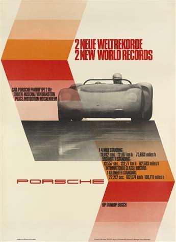 ERICH STRENGER (1922-1993). PORSCHE / 2 NEW WORLD RECORDS. 1965. 46x33 inches, 117x84 cm.
