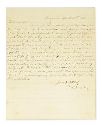 (CIVIL WAR.) MOSBY, JOHN SINGLETON. Autograph Letter Signed, Jno.S. Mosby / Colonel, a fair copy of his farewell address to his troop