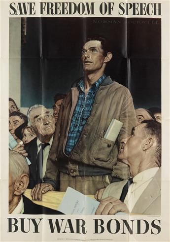 NORMAN ROCKWELL (1894-1978). [THE FOUR FREEDOMS.] Group of 4 posters. 1943. 40x28 inches, 101x71 cm. U.S. Government Printing Office, W