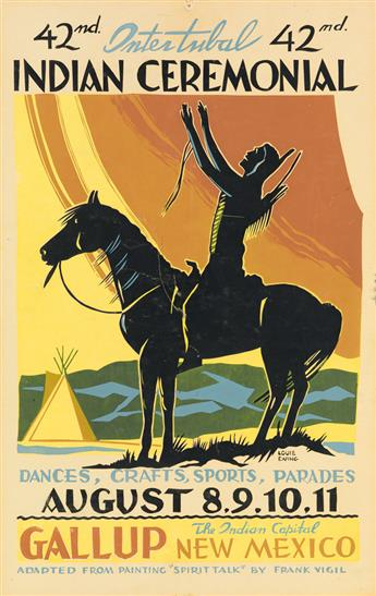 LOUIE EWING (1908-1983). INTER - TRIBAL INDIAN CEREMONIAL. Two posters. 1962 & 1963. Each 24x16 inches, 61x40 cm.