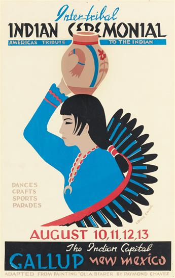 LOUIE EWING (1908-1983). INTER - TRIBAL INDIAN CEREMONIAL. Two posters. 1965 & 1967. Each 24x16 inches, 61x40 cm.