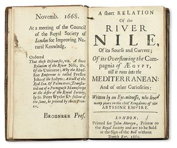 LOBO, JERÓNIMO, S.J. A Short Relation of the River Nile, of its Sourse and Current . . . and of other Curiosities.  1669