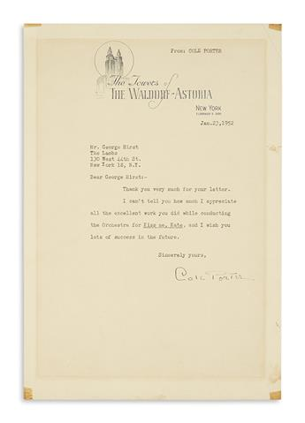 PORTER, COLE. Typed Letter Signed, to musical director George Hirst,