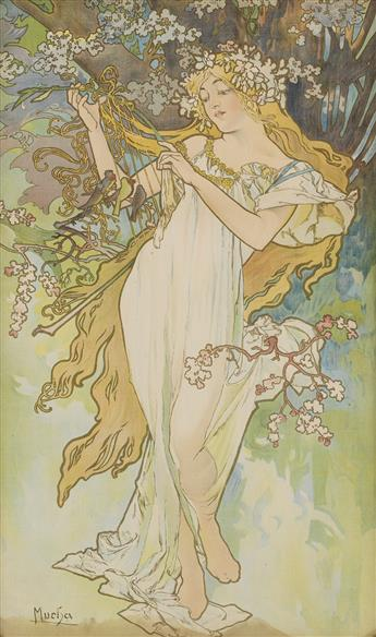 ALPHONSE MUCHA (1860-1939). [THE SEASONS.] Group of 4 decorative panels on fabric. 1896. Each 35x21 inches, 89x53 cm.