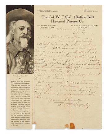 CODY, WILLIAM F. (BUFFALO BILL). Autograph Letter Signed, W.F. Cody, to My Dear Hawks [Frank Lee Houx?],