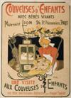 ADOLFO HOHENSTEIN (1854-1928) COUVEUSES DENFANTS. 54x29 inches. Affiches Reverchon, Paris.