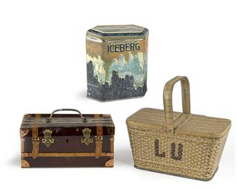 DESIGNER UNKNOWN. LEFÈVRE - UTILE. Group of 3 cookie tins. Sizes vary.