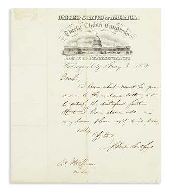 (CIVIL WAR.) COLFAX, SCHUYLER. Brief Autograph Letter Signed, to Colonel W[illiam?] Hoffman: