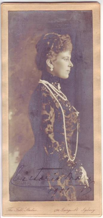 (GEORGE V; KING OF ENGLAND.) MARY OF TECK; QUEEN CONSORT. Photograph dated and Signed, Victoria Mary / 1901, as Princess, half-length