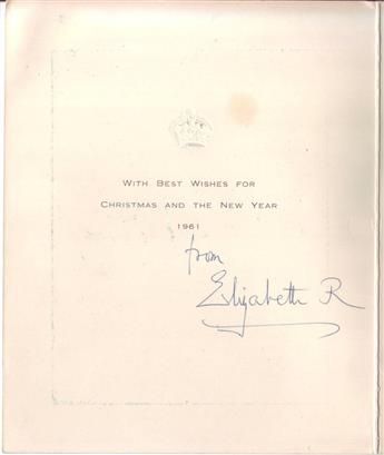 ELIZABETH; QUEEN OF GEORGE VI OF ENGLAND. Signature, Elizabeth R, as Queen, on a Christmas card.