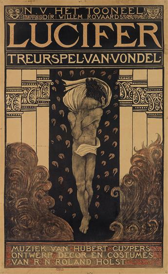 RICHARD N. ROLAND HOLST (1868-1938). LUCIFER / TREURSPEL VAN VONDEL. 1910. 48x29 inches, 123x75 cm. Tresling & Co., Amsterdam.
