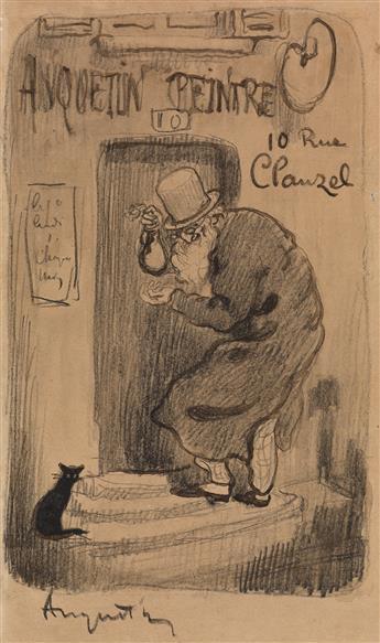 LOUIS ANQUETIN (Eure 1861-1932 Paris) Self Portrait at the Entrance to the Artists Studio, 10 Rue Clauzel, Paris.