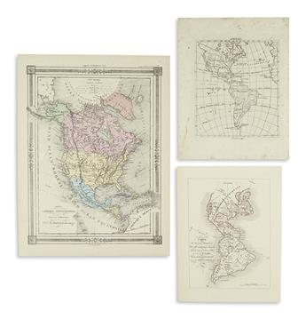 (AMERICAS.) Group of three small-format engraved maps of the Americas.