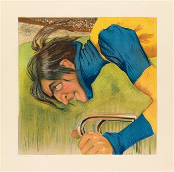 P.B. (INITIALS UNKNOWN). [CYCLIST.] 20x20 inches, 51x51 cm. Ed Sagot, Paris.