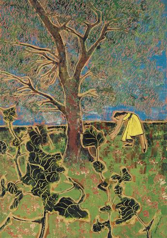 BENNY ANDREWS (1930 - 2006) Untitled (Woman in a Yellow Dress under a Tree).