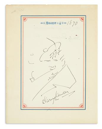 LAUDER, HENRY. Drawing Signed, self-caricature showing him wearing a Scottish bonnet and smoking a long pipe,