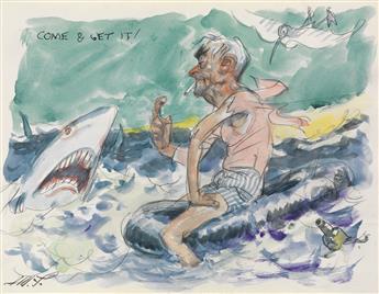 (CARTOON.)  JAMES MONTGOMERY FLAGG. Group of 4 World War II-era cartoons.