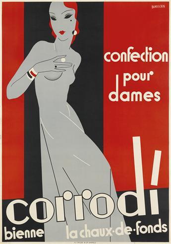 JOHANNES HANDSCHIN (1899-1948). CORRODI / CONFECTION POUR DAMES. 1933. 50x33 inches, 129x85 cm. A. Trüb & Cie., Aarau.