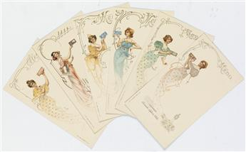 DESIGNER UNKNOWN. LEFÈVRE - UTILE. Group of 6 menu cards. Each 7x4 inches, 19x11 cm. J.E. Goossens, Paris.