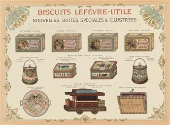 DESIGNER UNKNOWN. BISCUITS LEFÈVRE - UTILE / NOUVELLES BOITES SPÈCIALES & ILLUSTRÉES. 1898. 9x12 inches, 24x32 cm. F. Champenois, Paris