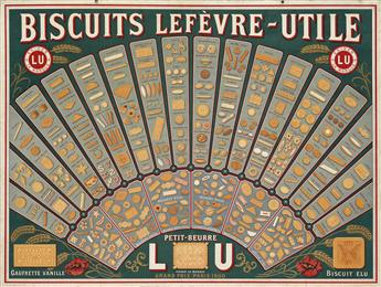 DESIGNER UNKNOWN. BISCUITS LEFÈVRE - UTILE. Window card. Circa 1901. 23x31 inches, 59x78 cm. Joubain & Beuchet, Nantes.