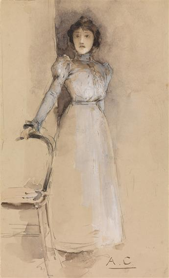 ANTOINE CALBET (Lot-et-Garonne 1860-1942 Paris) A Study of a Woman in a White Dress.