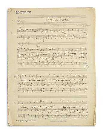 MILHAUD, DARIUS. Autograph Musical Manuscript dated and Signed, twice (Milhaud and in full), working draft of the vocal score for his