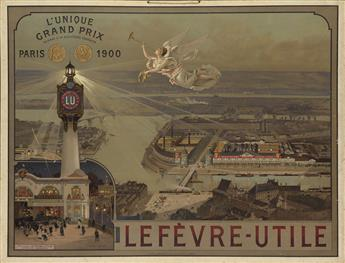 LUIGI LOIR (1845-1916). LEFÈVRE - UTILE / LUNIQUE GRAND PRIX. Window card. 1900. 25x33 inches, 64x85 cm. F. Champenois, Paris.