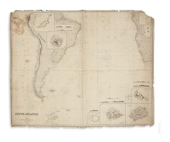 (BLUEBACK CHARTS.) Group of four large engraved charts.