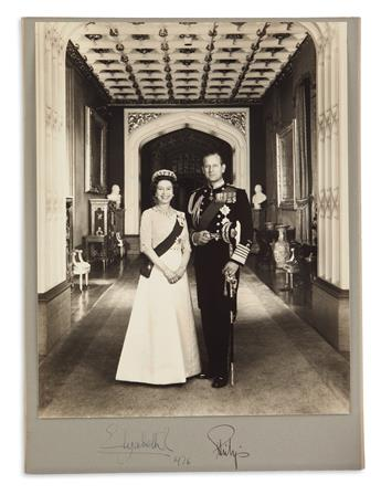 ELIZABETH II; QUEEN OF THE UK; AND PHILIP; DUKE OF EDINBURGH. Large Photograph Signed, by both (ElizabethR and Philip),