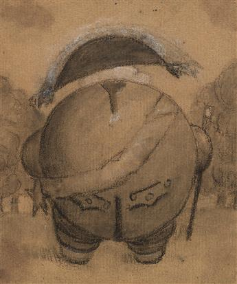 FRENCH SCHOOL, EARLY 19TH CENTURY A Caricature of Louis XVIII, seen from behind.
