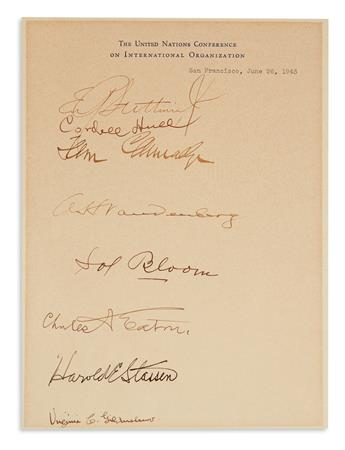 (UNITED NATIONS.) Signatures by 8 U.S. delegates to the United Nations Conference on International Organization,
