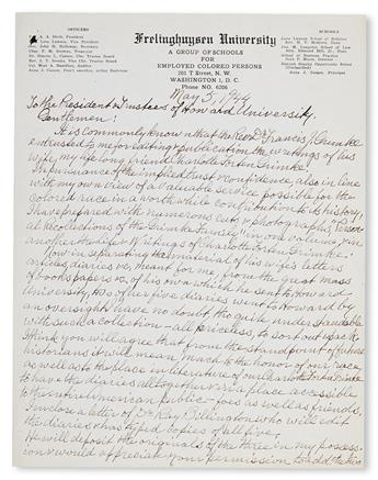(WOMEN.) Cooper, Anna Julia. Autograph Letter Signed to the president and trustees of Howard University,