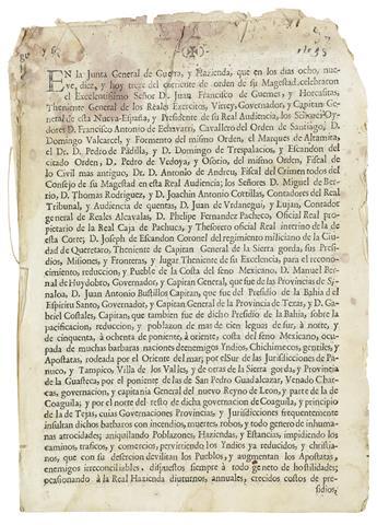 (TEXAS.) Escandón, José de. Detailed plan to colonize Nuevo Santander and Texas.