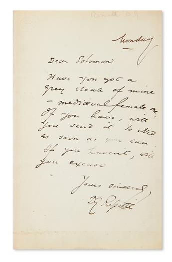 ROSSETTI, DANTE GABRIEL. Autograph Letter Signed, DG Rossetti, to Dear Solomon,