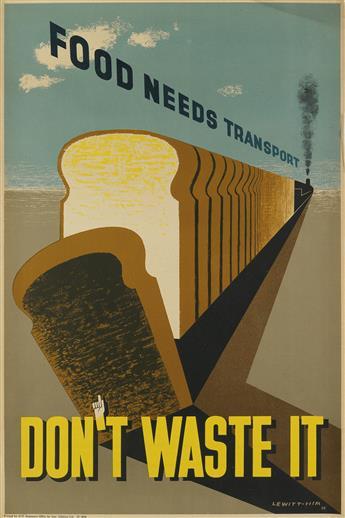 LEWITT-HIM (JAN LEWITT, 1907-1991 & JERZY HIM, 1900-1981). FOOD NEEDS TRANSPORT / DONT WASTE IT. 1944. 29x19 inches, 75x49 cm. Geo. Gi