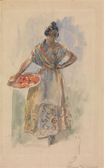 ALEXANDRE LUNOIS (Paris 1863-1916 Paris) A Study of a Woman from Valencia.