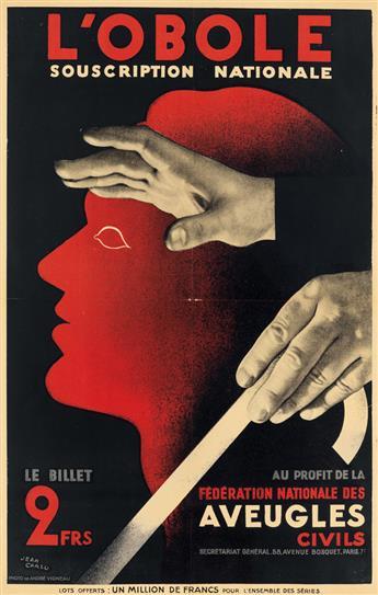 JEAN CARLU (1900-1997). LOBOLE / SOUSCRIPTION NATIONALE. 1932. 23x15 inches, 59x40 cm.