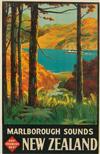 LEONARD CORNWALL MITCHELL (1901-1971). NEW ZEALAND / MARLBOROUGH SOUNDS. Circa 1935. 39x25 inches, 99x63 cm.
