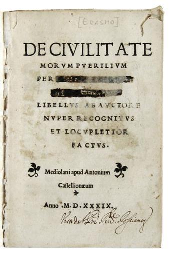 ERASMUS, DESIDERIUS. De civilitate morum puerorum.  1539